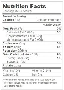 información nutricional pisco sour